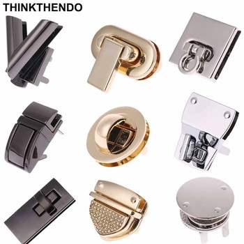 Metal Lock Round Rectangle Bag Case Buckle Clasp For Handbags Shoulder Bags Purse Tote Accessories DIY Craft With Diamond