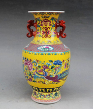Exquisite Chinese Antique Handmade Enamel Colorful Porcelain Flowers and Phoenix Ornament Vase, Made by China,Jingdezhen