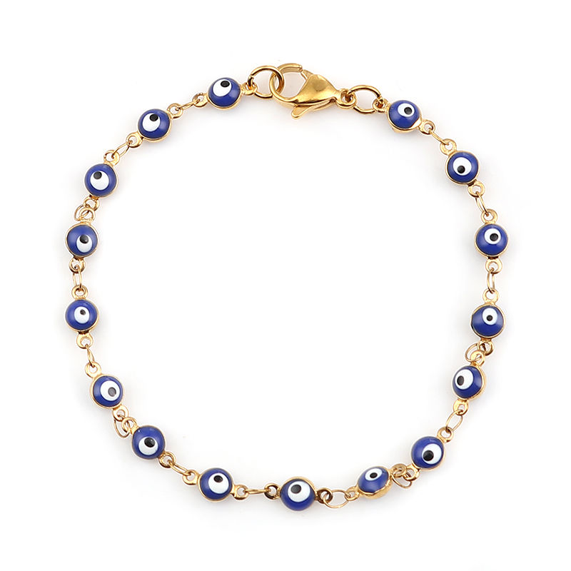 Fashion Stainless Steel Bracelets Gold Blue Red Evil Eye Enamel Bead Bracelet Jewelry For Women Men Gifts 18.7cm Long, 1 PC