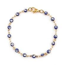 Fashion Stainless Steel Bracelets Gold Deep Blue Evil Eye Enamel Trendy Jewelry For Women Girls Gifts 18.7cm(7 3/8) Long, 1 PC