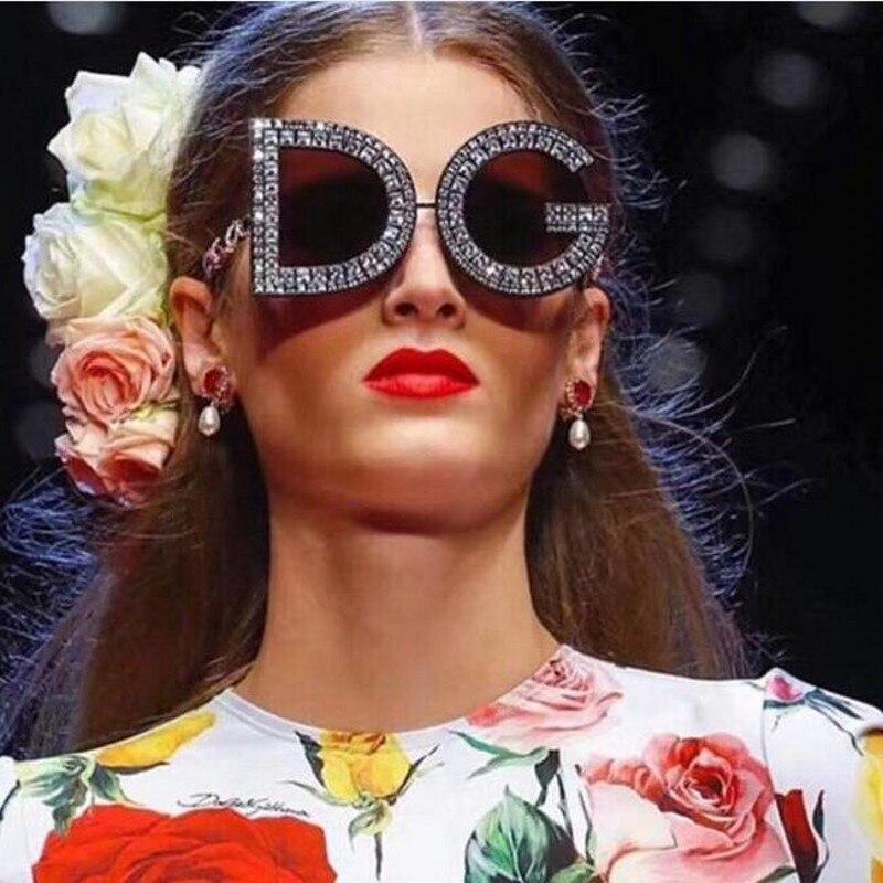 7855e9a4ce4d oversized Crystal Sunglasses 2018 Womens fashion shades luxury brand  designer trendy Summer letter Rhinestone round eyewear