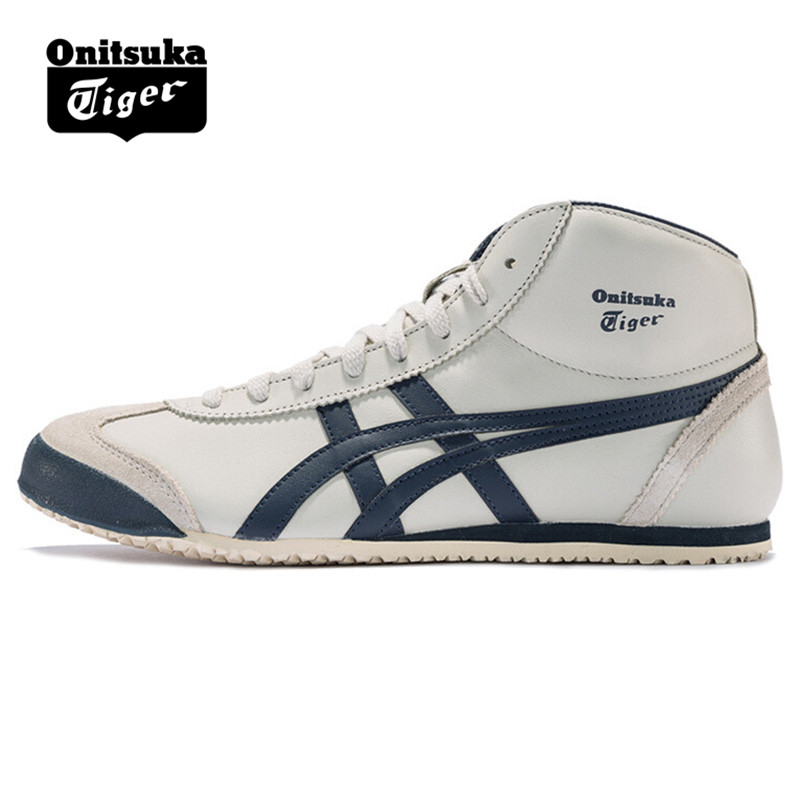 huge discount b53c5 a2512 US $125.39 |Original ONITSUKA TIGER MEXICO 66 Men Women Shoes Beige dark  blue Unisex leather rubber high Sneakers Badminton shoesTHL328 1659-in ...