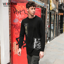 VIISHOW Sweater Men Polo Pullover Casual Long Sleeve Hip Hop Print Sweater Pullover Knitting Mens Sweater Homme Clothes ZCZ0263