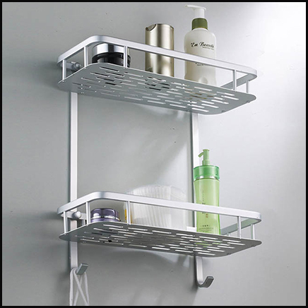 Bathroom Shelf Aluminum Toilet Pendant shelves Double Storage Racks ...