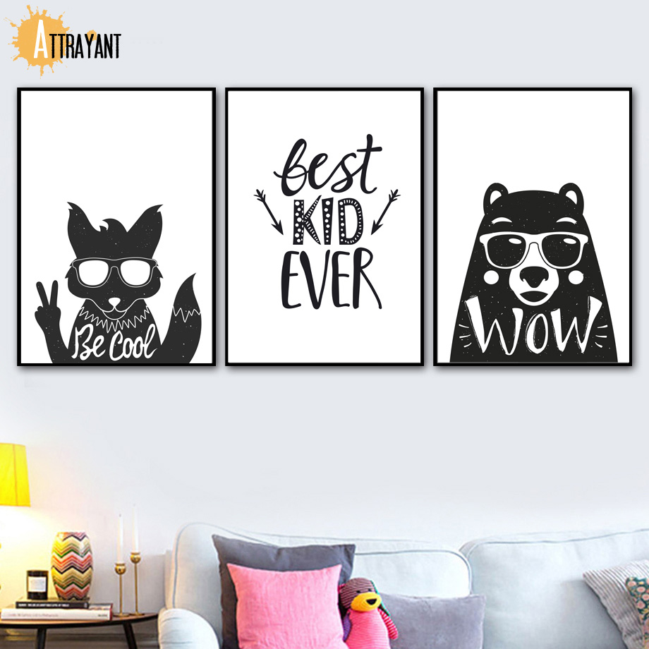 Be Cool Fox Bear Quotes Nordic Poster And Prints Black White Wall Art Canvas Painting Pictures For Kids Room Home Decor