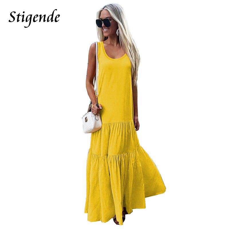 Stigende Boho Summer Beach Long Dress Women Casual Maxi Dresses Solid Color Patchwork Sleeveless Strap Dress a Line Vestidos