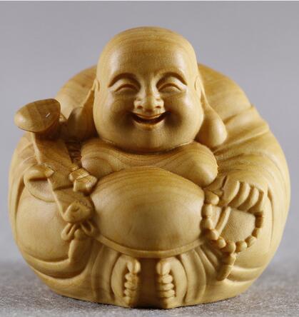 Statuette maison Buxus microphylla sculpture sur bois petite pièce ornements avec bergamote sculpture sur bois artisanat cadeau bouddha Maitreya harmonie