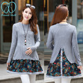 8966# 2016 Autumn & Winter Fashion Maternity Sweater Dress Floral Patchwork Back Splits Pullovers Clothes for Pregnant Women