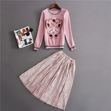 runway 2 piece set women autumn and winter sweet cute pink embriodered o-neck pullover hoodie + mid-calf pleated skirt sets tops