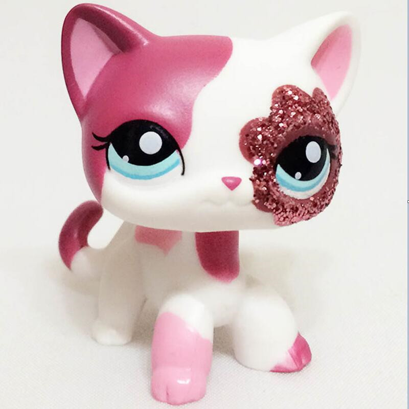 Pet Shop Lps Toys Short Hair Cat Sparkle Eyes Pink White Red Kitty Action Figure For Kids Gift Collie Great Dane Free Shipping