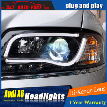 car Styling LED Head Lamp for AuDI A6 headlights 1999-2004 for A6 head light LED angle eyes drl H7 hid Bi-Xenon Lens low beam