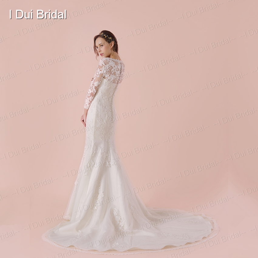 Three Quarter Sleeve Wedding Dress With High Quality Lace Sheath Bridal Gown 2018 New Arrival In Dresses From Weddings Events On Aliexpress