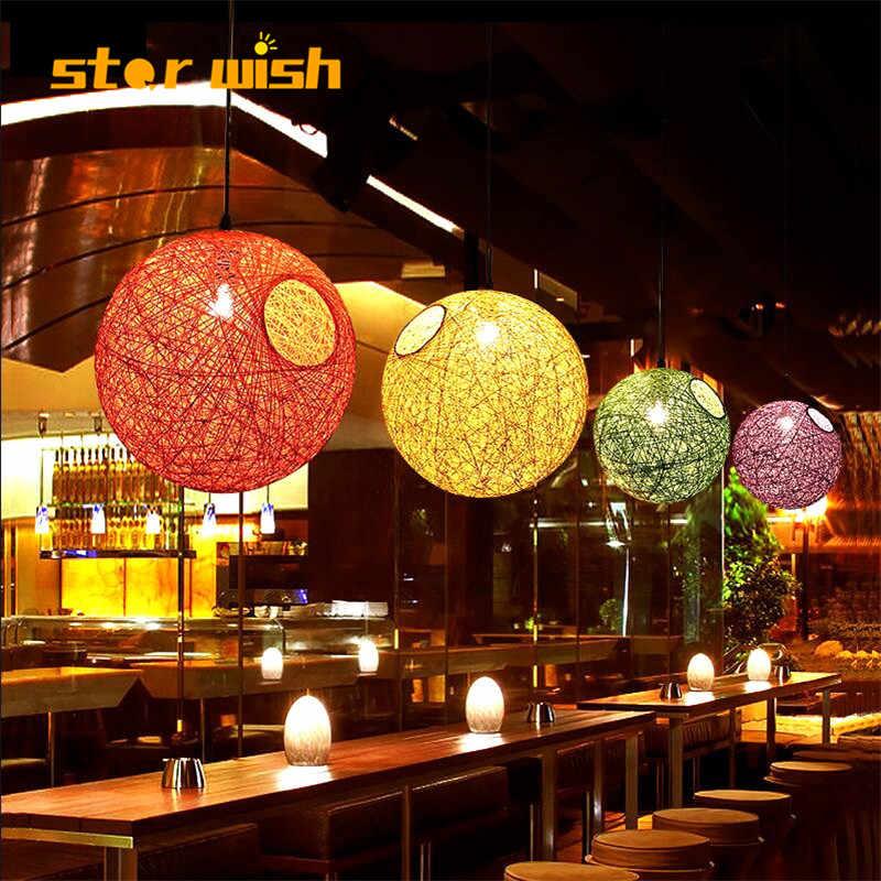 star wish Hemp ball rattan chandelier bird nest lamp retro creative living room restaurant cafe weaving spherical art lamps