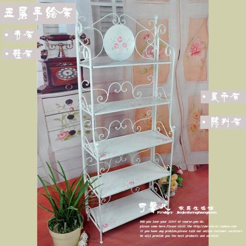 Clearance Processing Korean White Wrought Iron Garden Roses Flower Display  Shelf Racks Shelves Folding Display Stand