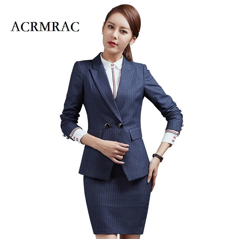 ACRMRAC Ms Long sleeves blue stripes Professional suits Formal wear OL Formal Pant Suits
