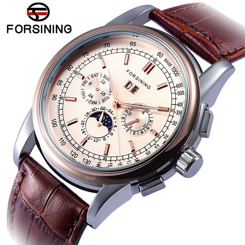 2017 Fosining New Watches Men Luxury Brand Moonpahse Gold Rose Auto Mechanical Watch Wristwatch Gift Free