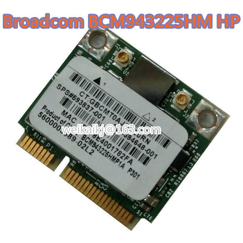 BCM943225HM 802.11 b/g/n mini PCI-E Half Wireless card for HP 593837-001