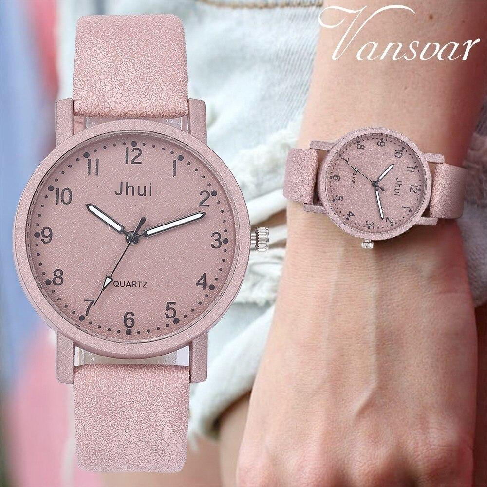 Drop Shipping Fashion Women Leather Wrist Watch Casual Luxury Vansvar Brand Ladies Dress Clock Relogio Feminino
