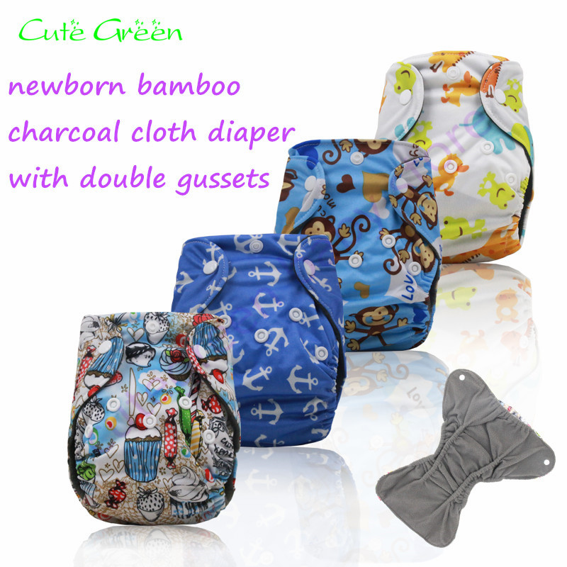 Bamboo Charcoal Newborn Cloth Diaper Baby Nappies;washable Baby Diaper With Double Leg Gusset;washable Diaper Cover Baby Pant