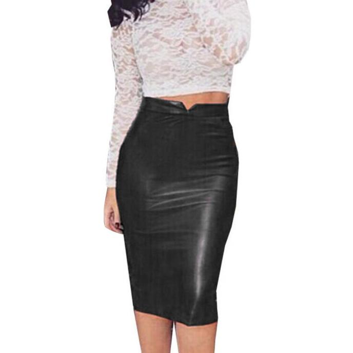 FASHION Women Leather Skirt High Waist Slim Party Pencil Skirt Black Daily Wear Sexy Skirts Clothes For Ladies