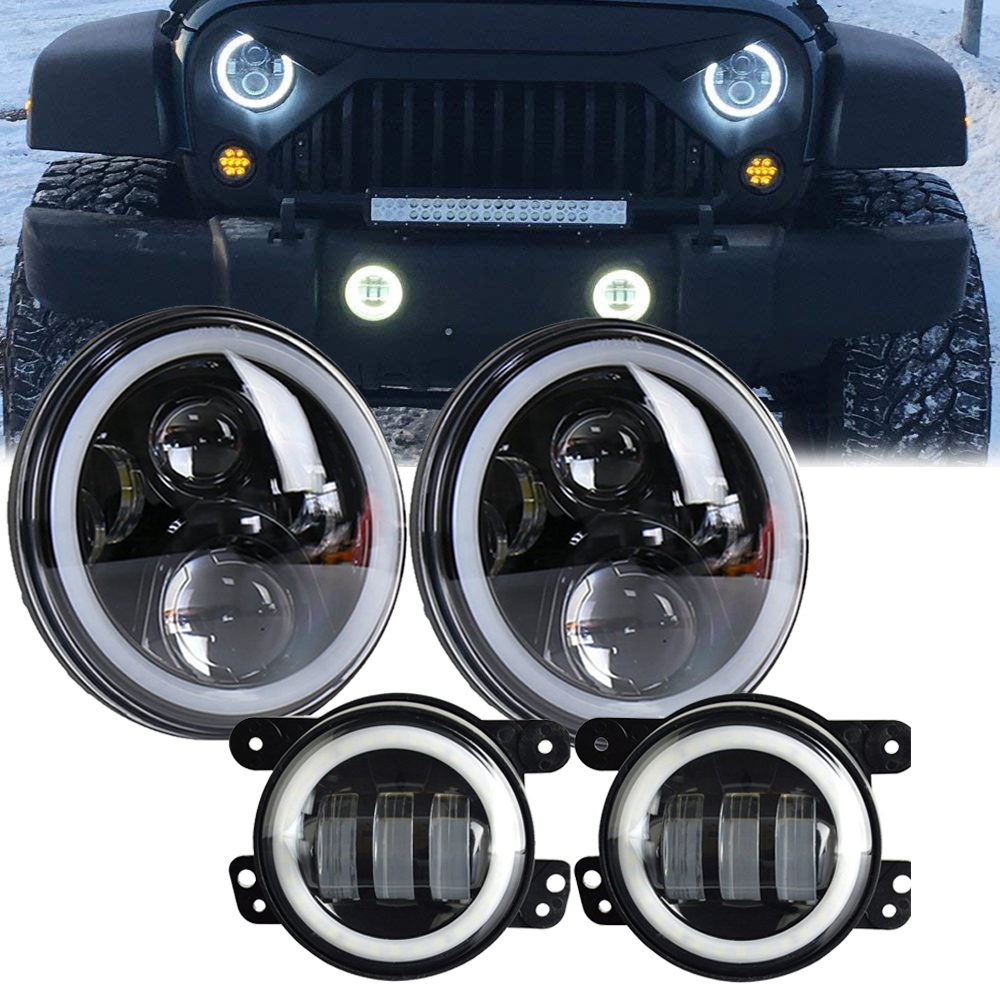 Marlaa 7 inch Wrangler LED Headlights 4 inch LED Fog Lights Halo DRL for Jeep Wrangler