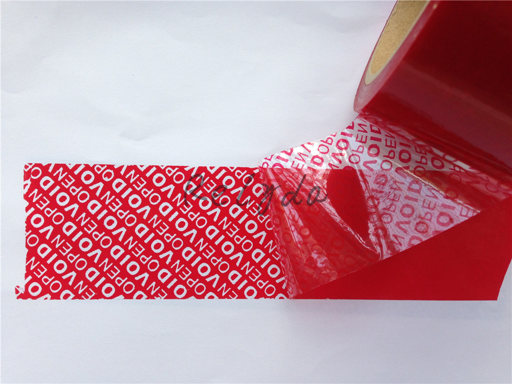 10pcs Free shipping BOPP PET acrylic self adhesive security packing tapes RED color custom printing one time used label 30mm*15m