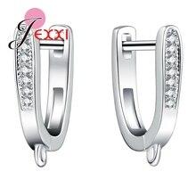 Купить с кэшбэком JEXXI One Pair Two PCS Fashion Shiny CZ Diamond Earring Fingdings DIY Jewwlry Fashion With Shiny Cubic Zirconia Hot Sale