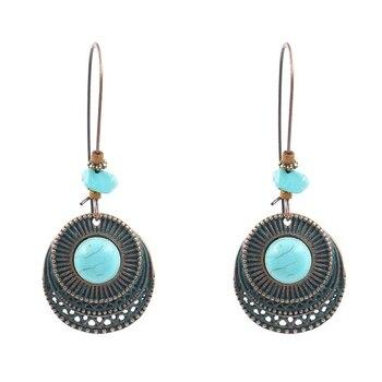 Bohoyoga-store-Boucles d'oreilles Vintage Turquoise Antique Ronde-femme
