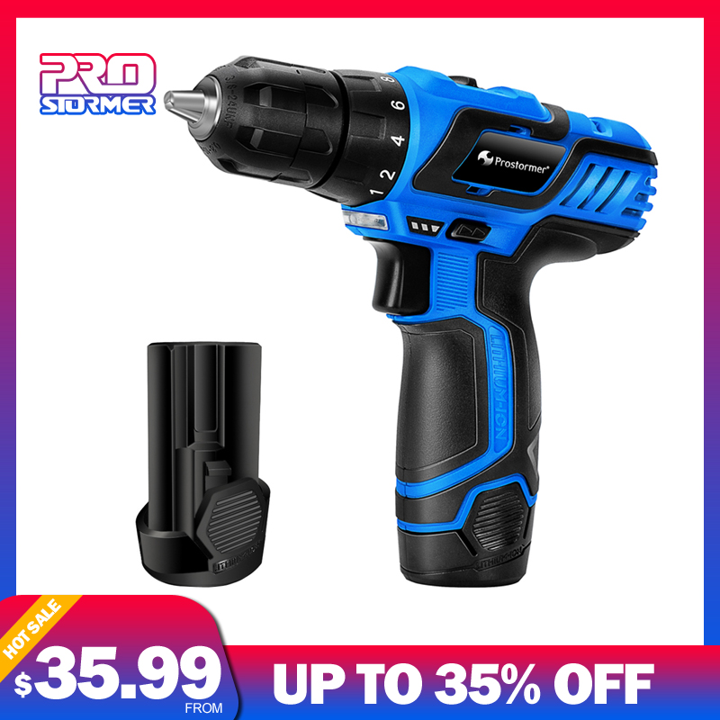 PROSTORMER 12V Electric Drill Screwdriver With Drill Bit Set 25NM 2000mah Fast Charging Rechargeable Household Mini Power Tools