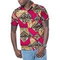 Moda de manga corta de los hombres camisa de colores dashiki imprimir tops diseño de áfrica africano impresión africa clothing personalizado