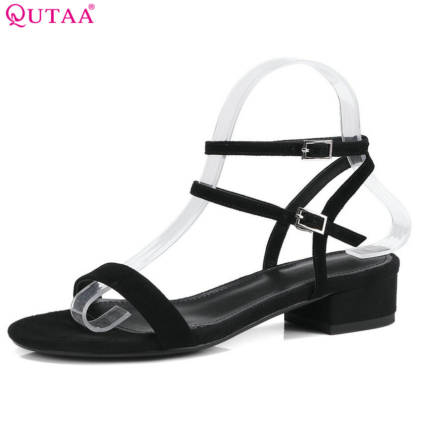 QUTAA 2018 Women Sandals Buckle All Match Simple All Match Genuine Leather Fashion Women Shoes Women Sandals Size 34-40 купить недорого в Москве
