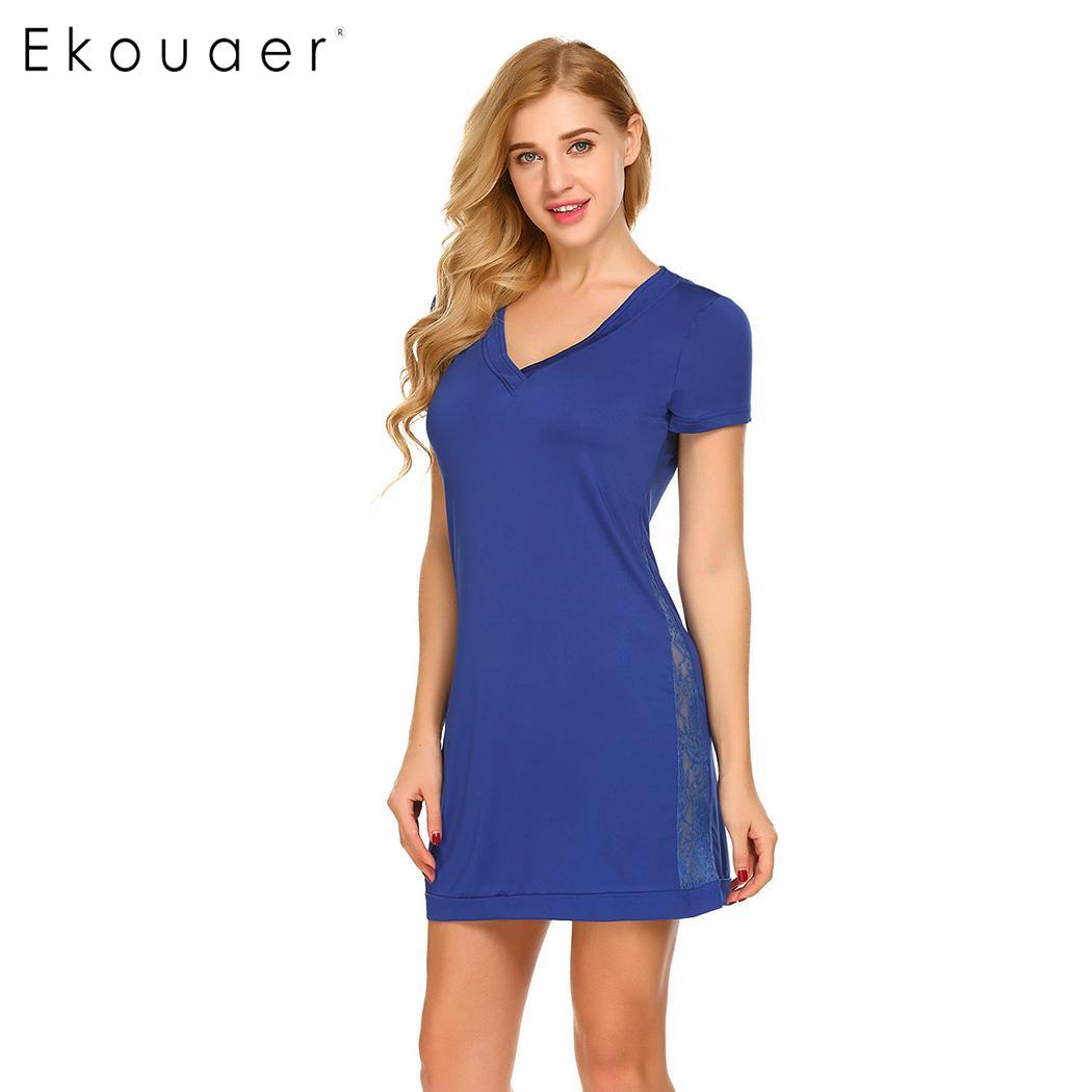 Ekouaer Women   Nightgown     Sleepshirts   Nightwear Dress Deep V Neck Short Sleeve Solid Side Lace Patchwork Sleepwear Sleep Dress