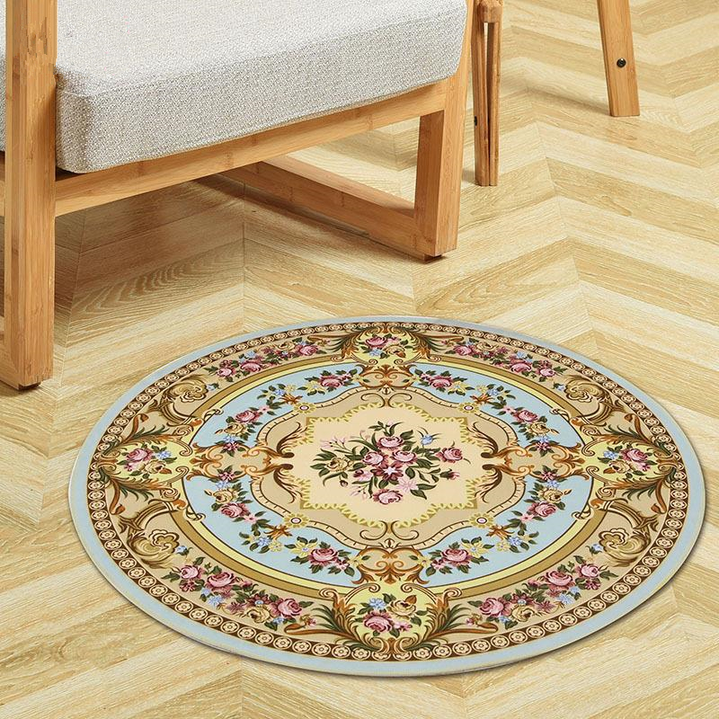 Europe Printing Round Carpet For Living Room Computer Chair Floor Mat Kids Play Tent Rug Home Bedroom Rugs And Carpets Cloakroom
