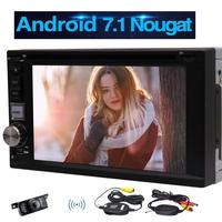 Android 7.1 Car Stereo 6.2Double Din Headunit WIFI GPS Sat Nav Bluetooth Radio Phone Link USB SD Car DVD Player+Rearview Camera