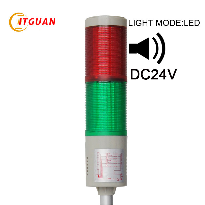 LTA-505 DC24V 2 Layers led tower light  flashing lighting red/green Right-Angle Bottom/U Bottom/Round Bottom lta 205j 2 dc12v 2 layer tower light signals bulb warning lamp alarm 90db red green u bottom