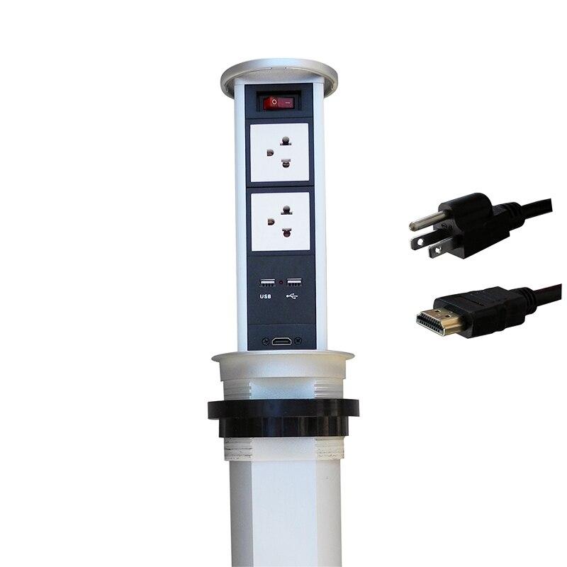 Prise de courant d'air 2019 avec 1 interrupteur, 2 alimentation US, 2 chargeur USB et 1 HDMI pour plans de travail de cuisine
