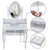 Ретро косметическое зеркало многоцелевой туалетный столик белый 4 Ящика Зеркало Европейский женский соединение павловнии МДФ доска HWC