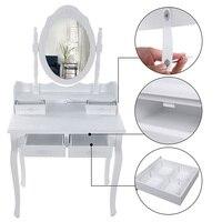 Retro Vanity Mirror Multifunctional Dressing Table White 4 Drawers A Mirror European Female Compound Paulownia MDF Board HWC