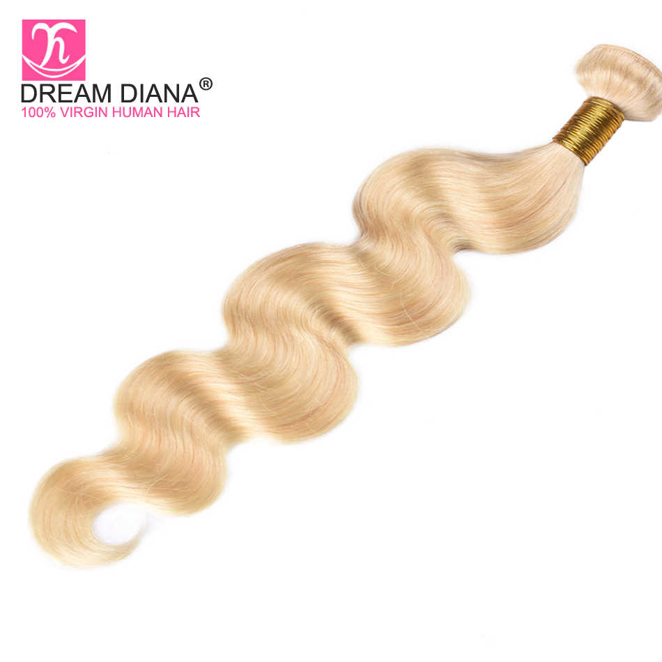 Sueño Diana Remy malayo 613 cabello rubio de la onda del cuerpo paquetes de 3 unids/lote 100% platino Rubio cabello humano de la onda del cuerpo 3- vida útil de 5 años
