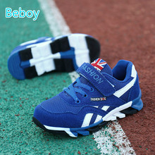 Practical PU Kids Sneakers Boys Sport Shoes Breathable Mesh Kids Shoes Flat Strap Light Weight Running Trainers for All Seasons