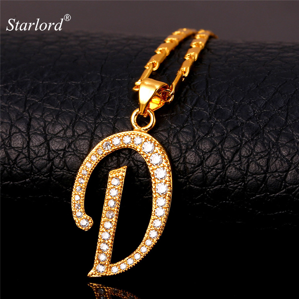 Initial D Letter Pendants U0026 Necklaces WomenMen Personalized Gift Alphabet  Jewelry Gold Color Necklace P1674 ...