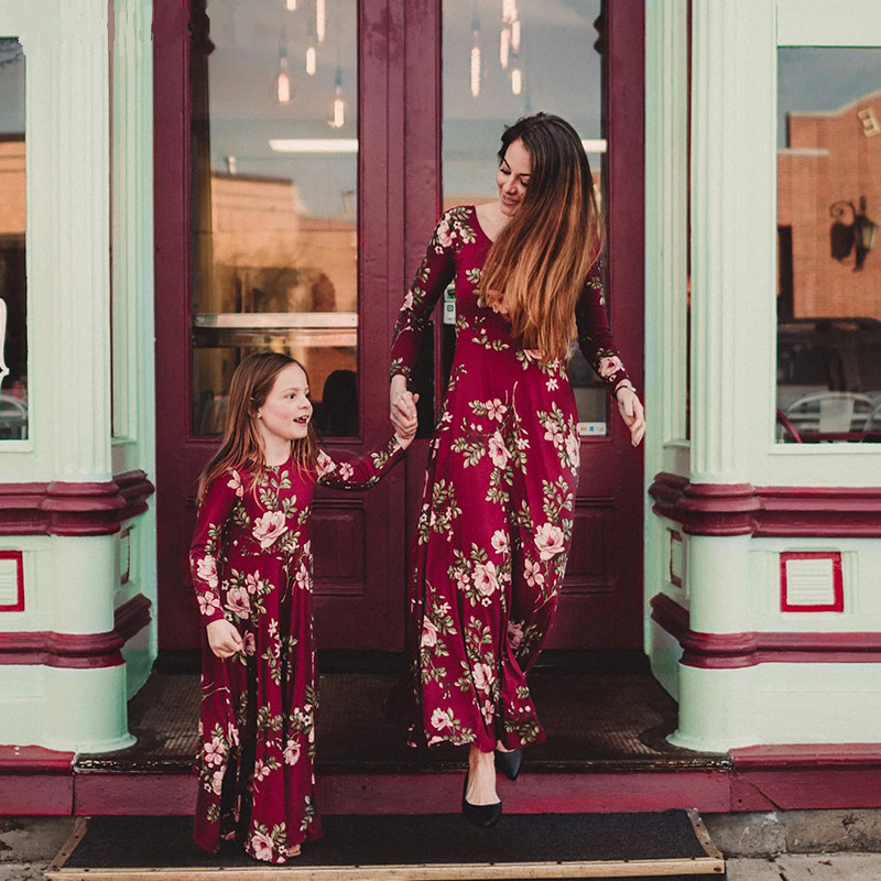 LILIGIRL Mommy and Me Dress Baby Girls Clothes Wine Floral Print Vestidos Mom Daughter Dresses Family Matching Clothes Outfits girl