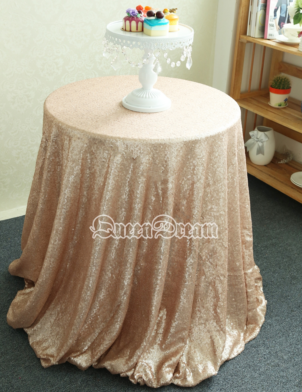 super popular 90 inches round champagne sequin tablecloth for decoration