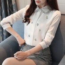 2018 Spring Korean New Fashion Chiffon Shirt Women Long Sleeve Embroidery Cute Peter Pan Collar Blouse Womens