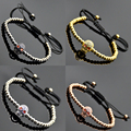 5Pack/Pack Fashion Mens Skull Micro Zircon Pave Beads Braiding Macrame Charm Bracelet Silver Gold Rose Gold Gunmetal