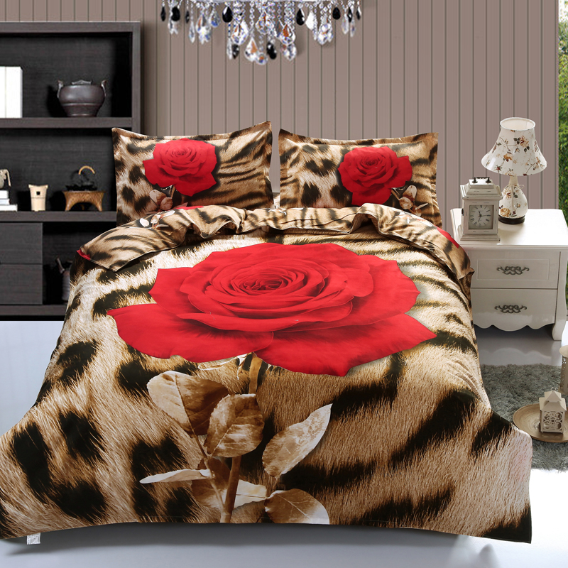 quality 4pc sexy fashion leopard full double queen size bed quilt duvet doona cover set flat. Black Bedroom Furniture Sets. Home Design Ideas