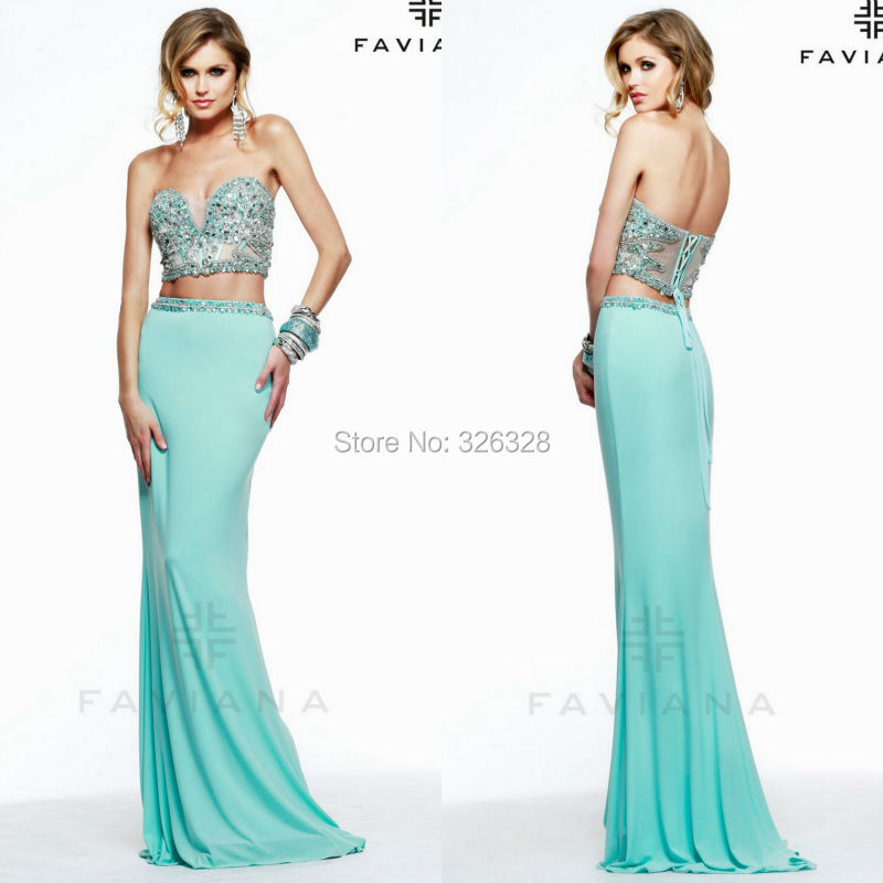 Two Piece Prom Dress Corset Back Sheer Beaded Stones Sweetheart Neckline Special Occasion Dresses 2015 - Suzhou Pretty Color Wedding & Evening Co., Ltd. store