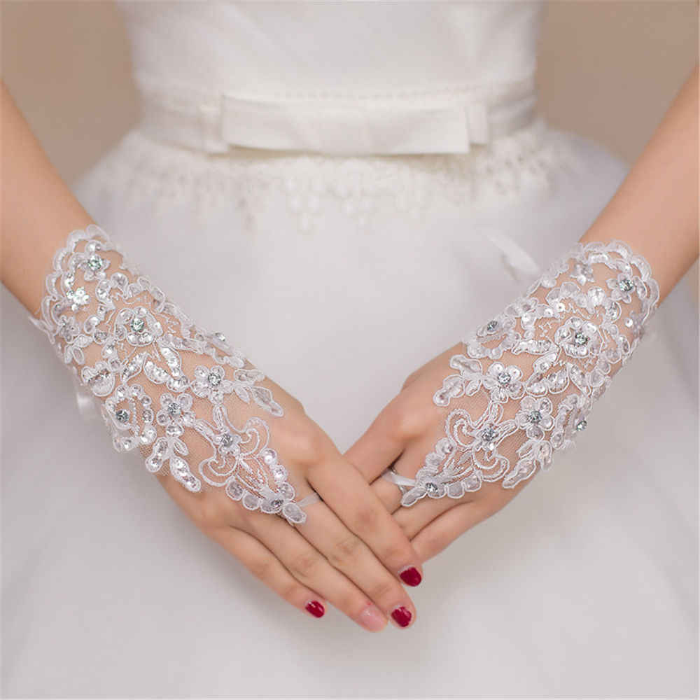 Hot sale Women Fingerless Lace white Gloves Short Paragraph Rhinestone Lace Gloves Elegant High Quality Free Shipping