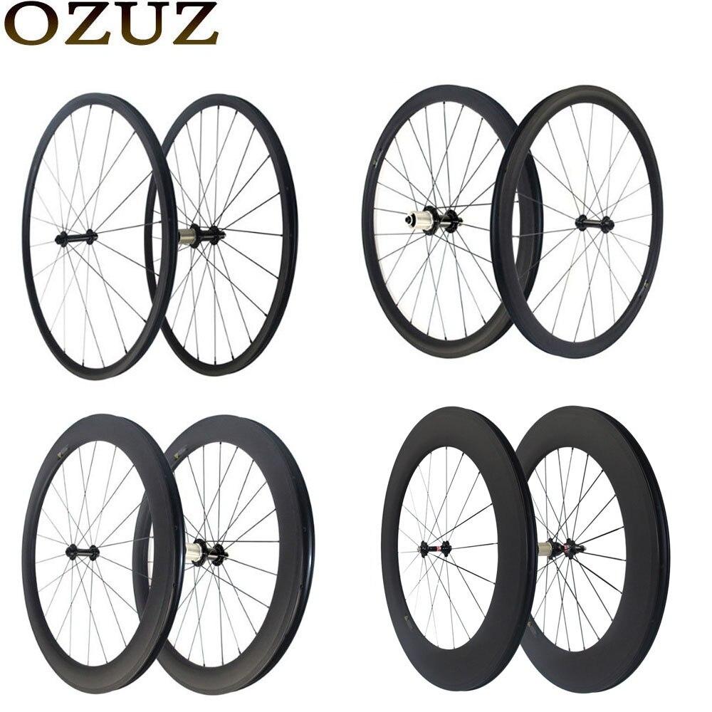 OZUZ Super luce di 24mm 38mm 50mm 88mm in fibra di carbonio ruote copertoncino tubolare 3 k della strada del wheelset 700c della bici 494 cnspoke tassa incluso