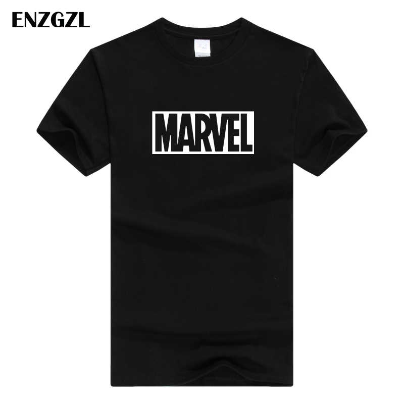 ENZGZL zomer T-shirts Mens MARVEL 100% KATOEN Korte mouw T-shirt Strakke Mannelijke T-shirt Ronde Hals XS S M L XL streetwear